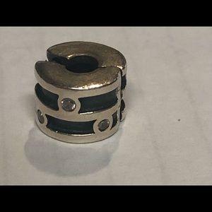 Pandora 925 silver bead charm clip with CZs